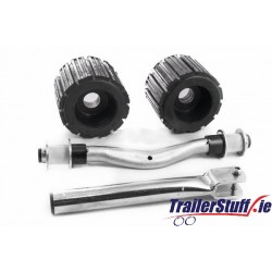 Ribbed roller set with curved shaft and stem