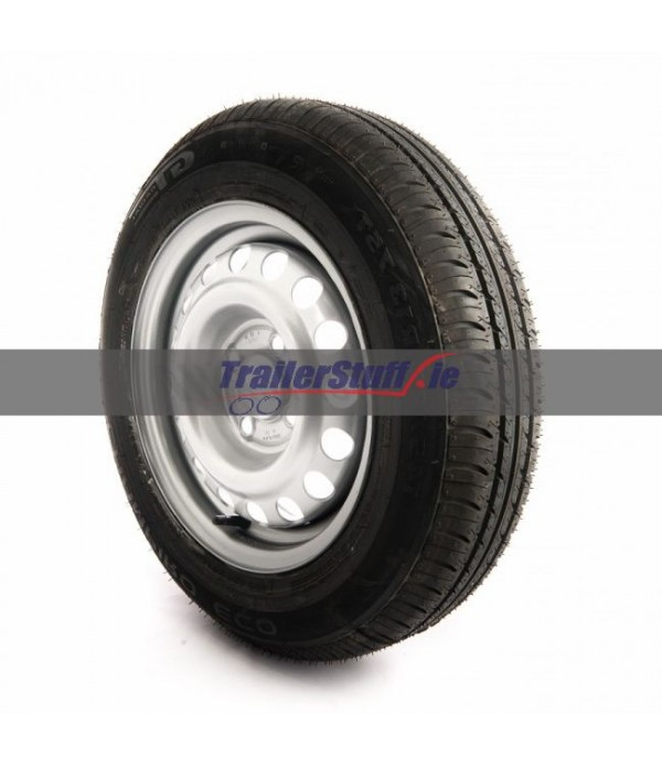 155/80 R13, 4 ply, 4 on 100mm. PCD wheel assembly
