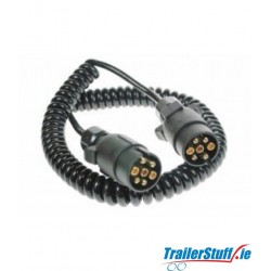 Curly connection lead with 2x 7-pin plugs, 2.5m